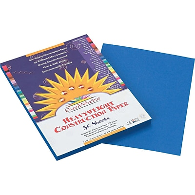 Pacon SunWorks® Construction Paper, 58 lbs, Bright Blue, 9 x 12, 50 Sheets/Pk