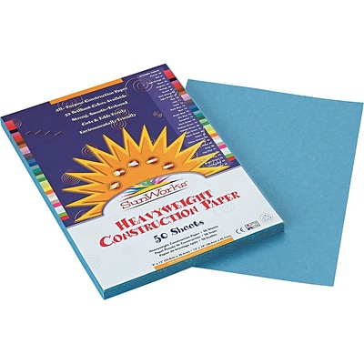 Pacon SunWorks® Construction Paper, 58 lbs., Sky Blue, 9 x 12, 50 Sheets/Pk