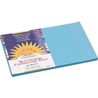 Pacon SunWorks 12 x 18 Construction Paper, Sky Blue, 50 Sheets/Pack (7607)