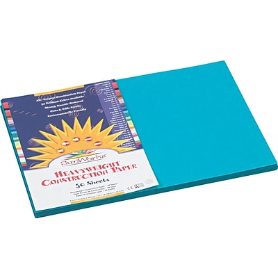 Pacon SunWorks® Construction Paper, 58 lbs., Turquoise, 12 x 18, 50 Sheets/Pk
