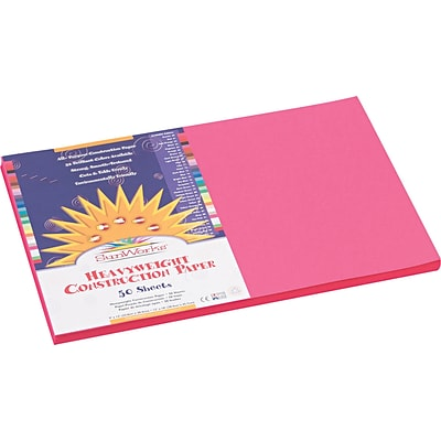 Pacon SunWorks 12 x 18 Construction Paper, Hot Pink, 50 Sheets/Pack (9107)