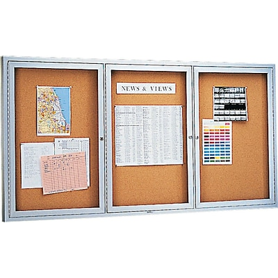 Quartet® Enclosed Cork Bulletin Board for Indoor Use, 6 x 3, 3 Hinged Doors