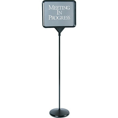 Quartet® Sign(ware)™ Pedestal Sign, 52, Double-Sided, Includes 12 Assorted Messages, Black