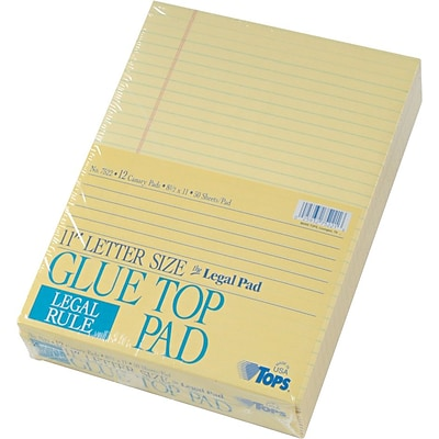 TOPS™ The Legal Pad™ Legal Pad, 8.5 x 11, Gum-Top, Canary, Legal/Wide Rule, 50 sheets per pad, 12 pads per pack (7522)