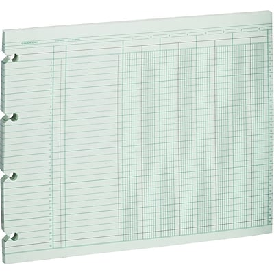Wilson Jones® Columnar Sheets, Ledger Paper, Ruled, 30 Lines, 8 Columns, Green Paper, 9 1/4 x 11 7/8, 100/Pk