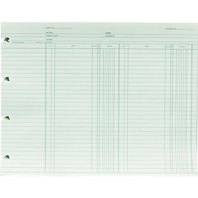 Green Double-Entry Ledger Forms, Both Sides Alike, 9-1/4 x 11-7/8, 100/Pack