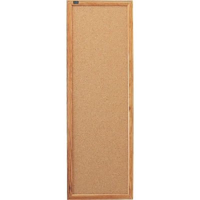 Quartet® Cork Bulletin Board, Oak Finish Frame, 3W x 1H