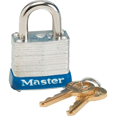 Master Lock® Four-Pin Tumbler Laminated Steel Lock, 2 Wide, Silver/Blue, Two Keys