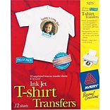 Avery Personal Creations™ Ink Jet White or Light T-Shirt Transfers, 8-1/2 x 11, 12 Shts/Box (03275
