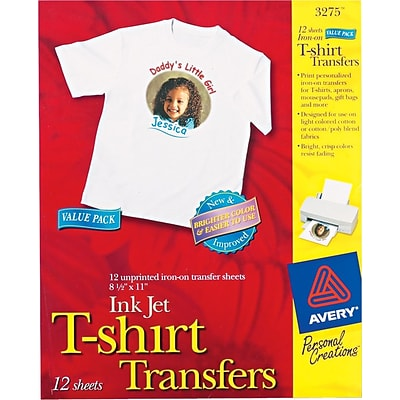 Avery Personal Creations™ Ink Jet White or Light T-Shirt Transfers, 8-1/2 x 11, 12 Shts/Bx