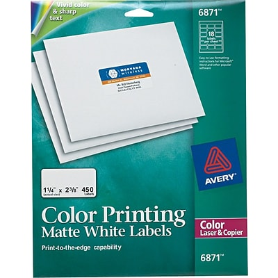 Avery® 6871 White Print To The Edge Mailing Label, 1 1/4(W) x 2 3/8(L), 450/Pack