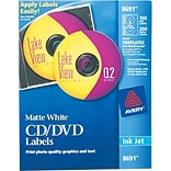 Avery CD/DVD Labels F/ Ink Jet Printers, 100 Ct., Matte White (08691)