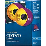 Avery® 8692 White CD Labels Template; Inkjet, 4-1/2, 40 Disc/80 Spine