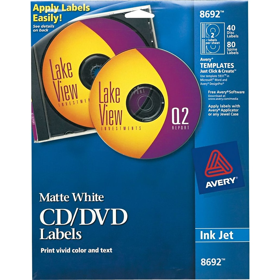 Avery White CD Labels Template Inkjet Disc - Quill label templates for word
