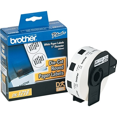 Brother P-Touch® Label Printer Round Die-Cut Paper Labels, DK1218, White, 1 x 1, 1,000/Roll (DK-1218)