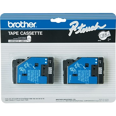 Brother® 1/2 Black on Clear Tape, 2 Pack