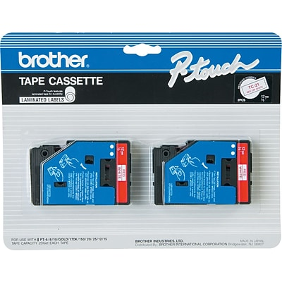 Brother® TC Series Laminated Label Tape, 1/2 x 25, Red on White