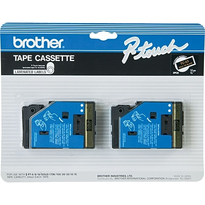 Brother® P-Touch Laminated Tape; 1/2, Gold on Black, 2/Pack