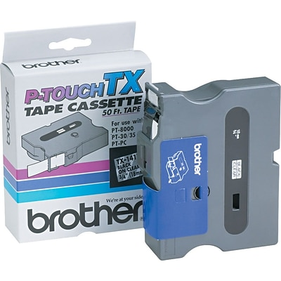 Brother® P-Touch TX Tape; 3/4, Black on Clear
