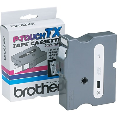 Brother® P-Touch TX Tape, 1,  White on Clear