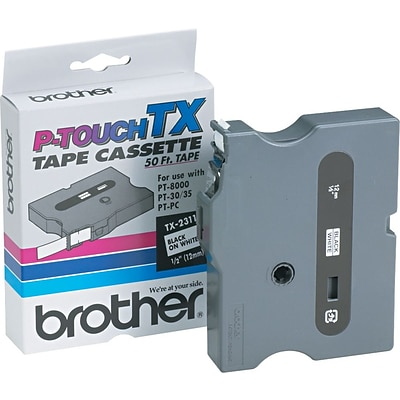 Brother® TX Series Laminated Label Tape, 1/2 x 50, Black on White