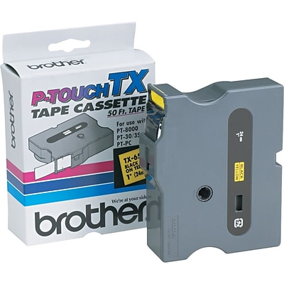 Brother® TX Series Laminated Label Tape, 1 x 50, Black on Yellow