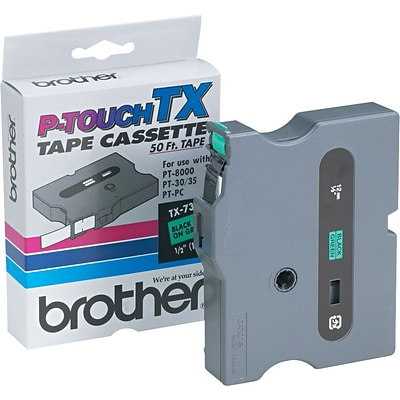 Brother® TX7311 Black on Green Tape; 1/2, 1/Pack