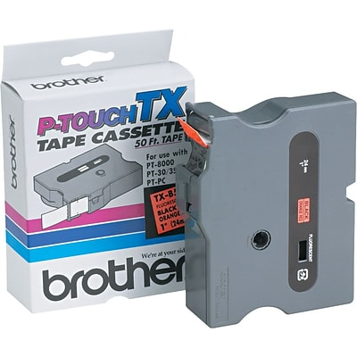 Brother® TXB511 Black on Fluorescent Orange Tape, 1
