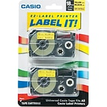 Casio® Label Maker Tape; 18mm, Black on Yellow, 2/Pack