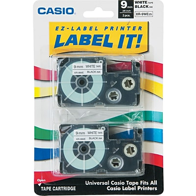 Casio® Laminated Label Tape Cassette, 3/8 x 26, Black on White