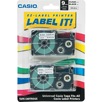 Casio® Laminated Label Tape Cassette, 3/4 x 26, Black on Clear