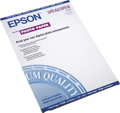 "Epson Photo Ink Jet Paper, Glossy, 52 lbs., 13"" x 19"", 20 Sheets/Pk"
