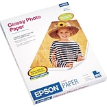Epson® Glossy Photo Paper, Bright White, 8 1/2(W) x 11(L), 100/Pack