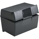 Esselte Plastic Index Card File Box with Top Groove, 300 Card Capacity, Black, 3 x 5