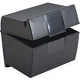 Oxford® Plastic Index Card Box, 4x6 Black