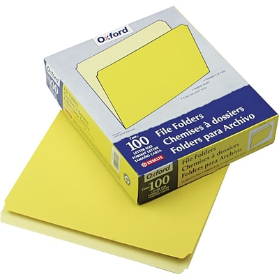 Pendaflex Two-Tone Top Tab File Folder, Yellow/Light Yellow, LETTER-size Holds 8 1/2 x 11, 100/Bx