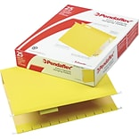 Pendaflex® Box-Bottom Colored Hanging File Folders with InfoPocket®, 2 Expansion, Yellow, Letter, H