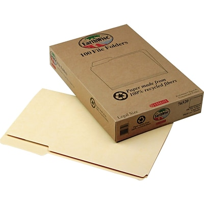 Pendaflex® Earthwise® 100% Recycled File Folders, Legal