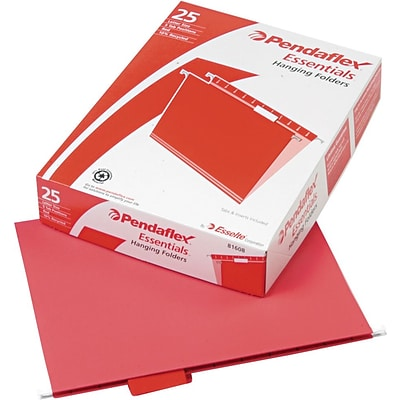Pendaflex Recycled Colored Hanging File Folders, Red, Letter, Holds 8 1/2H x 11W, 25/Bx