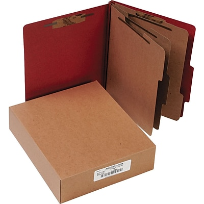 ACCO Pressboard Classification Folder with Permclip Fasteners, 8 Parts, Earth Red, Letter, Holds 8 1/2 x 11 Sheets, 10/Pack