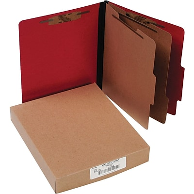 Presstex Color-Coded Top-Tab Folders with Fasteners, 2 Partition/6 Fasteners, Red, LETTER-size, Holds 8 1/2 x 11, 10/Bx
