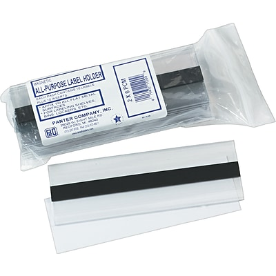 Clear Magnetic Label Holders, 6 x 2, 10/Pack