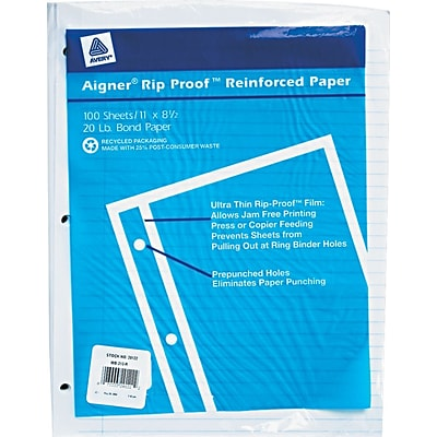 Rediform® 24-lb. Mylar Reinforced-Edge Loose Notebook Filler Paper, Narrow Ruled