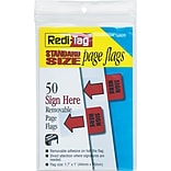 Redi-Tag® 1 Flags, Sign Here, Red, 50 Flags/Pack