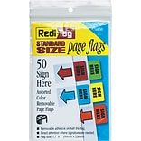 Redi-Tag® Removable Standard Page Flags, Sign Here, Assorted Colors, 11 1/16 x 1, 50/Pk