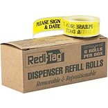 Redi-Tag® Yellow Please Sign & Date Flag Refill Rolls, 6 Rolls