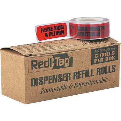 Redi-Tag® Dispenser Printed Arrows Page Flags 6-Roll Refill, PLEASE SIGN & RETURN, Red, 9/16 x 2, 120/Bx