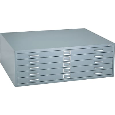 Safco® Versatile Steel Flat Files, 5-Drawers: 43x32, 16-1/2Hx46-3/8Wx35-3/8D, Grey