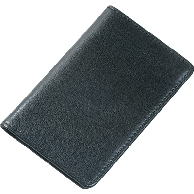 Samsill® Regal Leather Business Card Wallet, 25 Card Cap, 2 x 3 1/2 Cards, Black