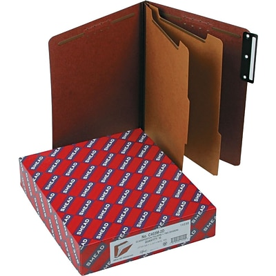 Smead® Pressboard Classification Folder with SafeSHIELD® Fasteners, 2 Dividers, 2 Exp, Letter Size, Red, 10 per Box (14230)